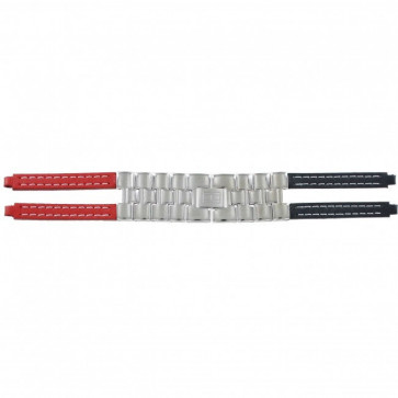 Tommy Hilfiger Uhrenarmband F80132 / 1780068 Leder Rot / Blau 4mm