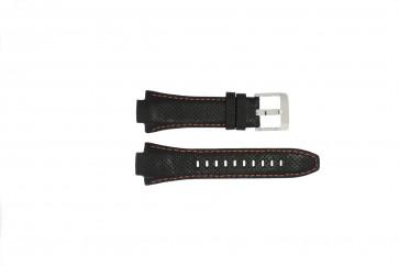 Seiko Uhrenarmband 7L22-0AE0 / SNL017P1 / 4KG8JZ /SNL021P9 Leder Schwarz 15mm + orange nähte