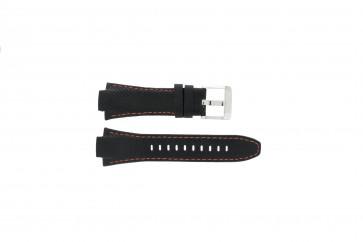 Seiko Uhrenarmband 7T62-0ED0 / H023 00C0 / SNJ007P  Leder Schwarz 15mm + orange nähte