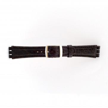Uhrenarmband für Swatch echtes Leder dunkelbraun 19mm 21412