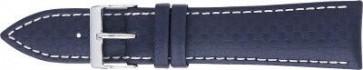 Carbon Uhrenarmband dunkelblau mit weißer Ziernaht 24mm PVK-321