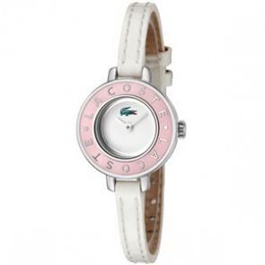 Lacoste Uhrenarmband LC-15-3-14-0083 / 2000390 Leder Weiss 6mm + weiße nähte