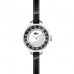 Lacoste Uhrenarmband LC-15-3-14-0084 / 2000391 Leder Schwarz 6mm + schwarzen nähte