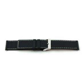 Echt Leder Uhrenarmband schwarz mit weißer Naht 38mm EX-J43