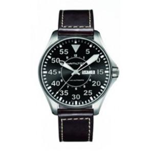 Uhrenarmband Hamilton H64715535 Leder Dunkelbraun 22mm