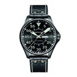 Uhrenarmband Hamilton H64785835 Leder Schwarz 22mm