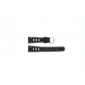 Lorus Uhrenarmband 19x14 Leder Schwarz 19mm + weiße nähte