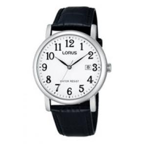 Lorus Uhrenarmband VJ32 X246 Leder Schwarz 20mm + schwarzen nähte