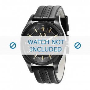 Armani Uhrenarmband AX1091 Leder Schwarz 22mm + schwarzen nähte