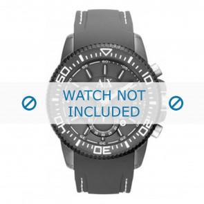 Armani Uhrenarmband AX1202 Kunststoff Grau + weiße nähte