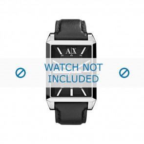 Armani Uhrenarmband AX-2113 Leder Schwarz 24mm + schwarzen Nähten