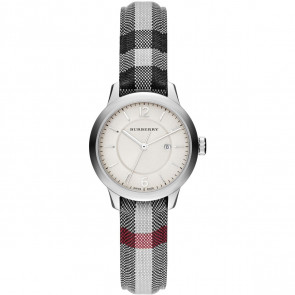 Uhrenarmband Burberry BU10103 Leder/Textil Grau