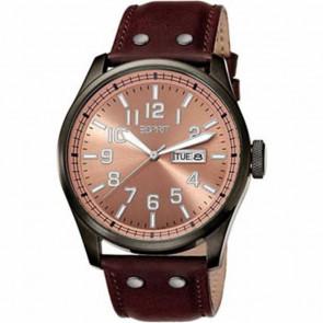Esprit Uhrenarmband ES103151002 Leder Braun 25mm + braunen nähte