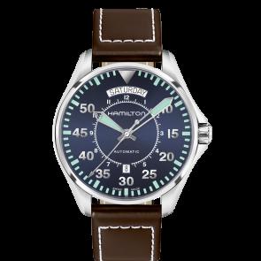 Uhrenarmband Hamilton H64615545 Leder Dunkelbraun 20mm
