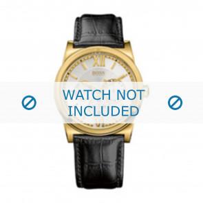 Hugo Boss Uhrenarmband 1512590 / HB-127-1-34-2301 / HB659302290 Leder Schwarz 23mm + schwarzen nähte