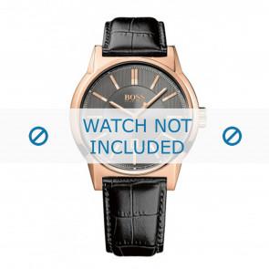 Hugo Boss Uhrenarmband HB1513073 / HB-202-1-34-2720 Leder Schwarz 22mm + schwarzen nähte