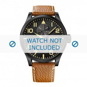 Hugo Boss Uhrenarmband HB1513082 / HB-88-1-34-27 / HB-88-1-34-2733 Leder Cognac 24mm + weiße nähte