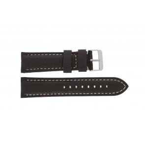 Uhrenarmband I038 XL Leder Dunkelbraun 24mm + weiße nähte