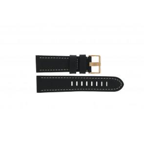 Prisma Uhrenarmband LEDZWR Leder Schwarz 23mm + weiße nähte