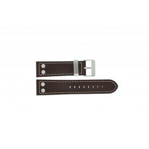 Dutch Forces Uhrenarmband 35C010202 Leder Braun 24mm + weiße nähte
