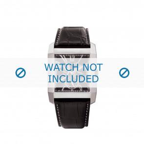 Police Uhrenarmband PL-10966MS/02 Leder Schwarz + weiße nähte