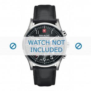 Swiss Military Hanowa Uhrenarmband 06-4187.04.007 Leder Schwarz 22mm + schwarzen nähte