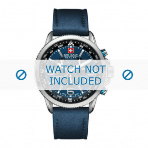 Swiss Military Hanowa Uhrenarmband 06-4224.04.003 Leder Blau 22mm + blauen nähte