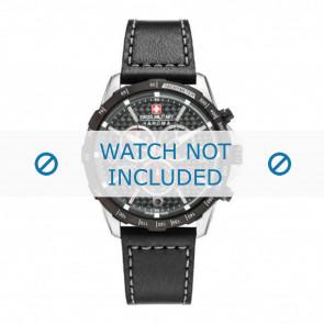 Swiss Military Hanowa Uhrenarmband 06-4251.33.001 Leder Schwarz 24mm + grauen nähte