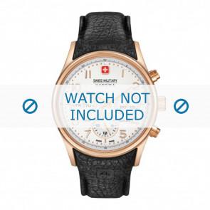 Swiss Military Hanowa Uhrenarmband 06-4278.09.001 Leder Schwarz + schwarzen nähte