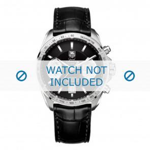 Tag Heuer Uhrenarmband FC6225 Leder Schwarz + grauen nähte