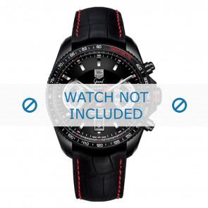 Tag Heuer Uhrenarmband FC6237 Leder Schwarz + roten nähte