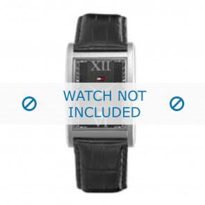 Tommy Hilfiger Uhrenarmband TH-67-1-14-0759 / TH1710175 Leder Schwarz + schwarzen nähte