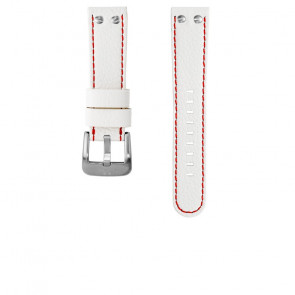 TW Steel Uhrenarmband TWB39 / TW39 Leder Weiss 22mm + roten nähte