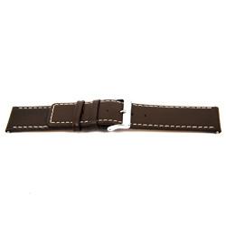 Echt Leder Uhrenarmband braun mit weißer Naht 32mm EX-J43