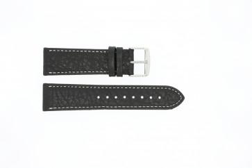 Uhrenarmband 307.01 Leder Schwarz 22mm + weiße nähte