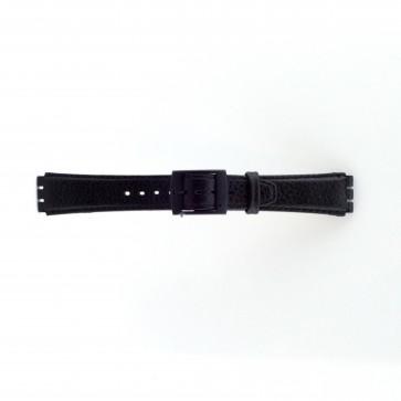 Uhrenarmband Swatch schwarz Leder 17mm PVK-SC04.01