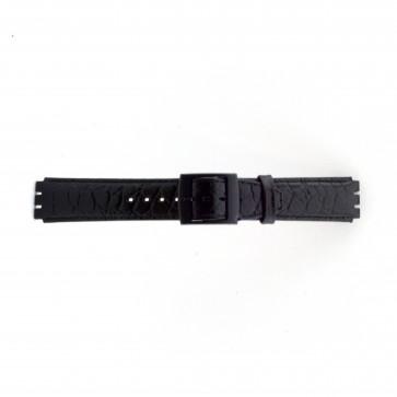 Uhrenarmband Swatch SC10.01 Leder Schwarz 17mm