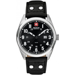 Uhrenarmband Swiss Military Hanowa 06-4181.04.007 Leder Schwarz 22mm