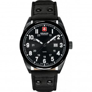 Uhrenarmband Swiss Military Hanowa 06-4181.13.007-Buckle-Studs-Black Leder Schwarz 22mm