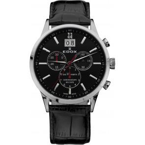 Uhrenarmband Edox 10010-473282-222194 Leder Schwarz 21mm