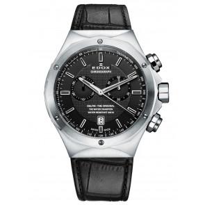 Edox Uhrenarmband 10107 Leder Schwarz + schwarzen nähte