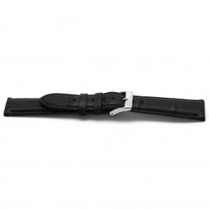 Uhrenarmband Alligator Leder schwarz 20mm EX-G134