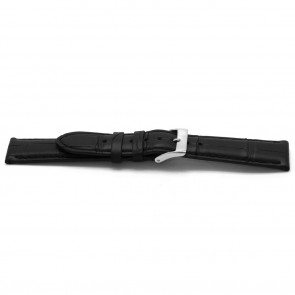 Uhrenarmband Alligator Leder schwarz 22mm EX-H134