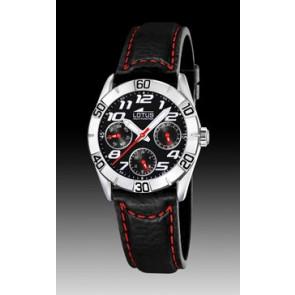 Uhrenarmband Lorus 15651-9 Leder Schwarz 18mm