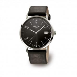 Uhrenarmband Boccia 3557-02 Leder Schwarz 21mm