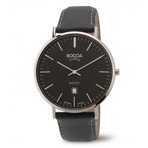 Uhrenarmband Boccia 3589-02 Leder Schwarz 20mm