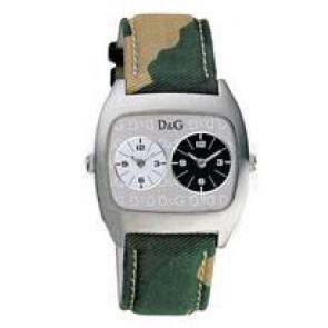 Dolce & Gabbana Uhrenarmband 3719240255 Leder/Textil Grün 22mm + beige nähte