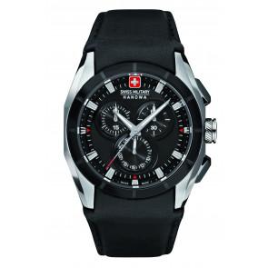 Uhrenarmband Swiss Military Hanowa 6-4191.33.007 Leder Schwarz 24mm