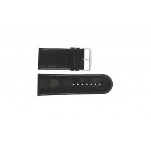 Kroko Uhrenarmband Leder schwarz mit weiß abgesetzter Naht WP-61324.32mm