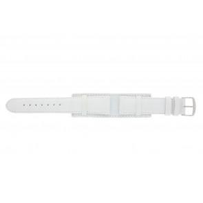 Uhrenarmband 61325.11.20 Leder Weiss 20mm + weiße nähte